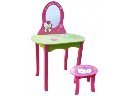 coiffeuse avec tabouret hello kitty en bois fun house. Black Bedroom Furniture Sets. Home Design Ideas