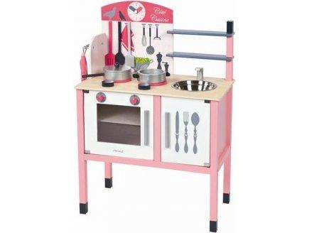 cuisini re en bois janod cuisine en bois avec accessoires achat cuisine enfant en bois rose. Black Bedroom Furniture Sets. Home Design Ideas
