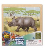 PUZZLE EN BOIS RHINOCEROS 20 PIECES - WILD REPUBLIC - 88022