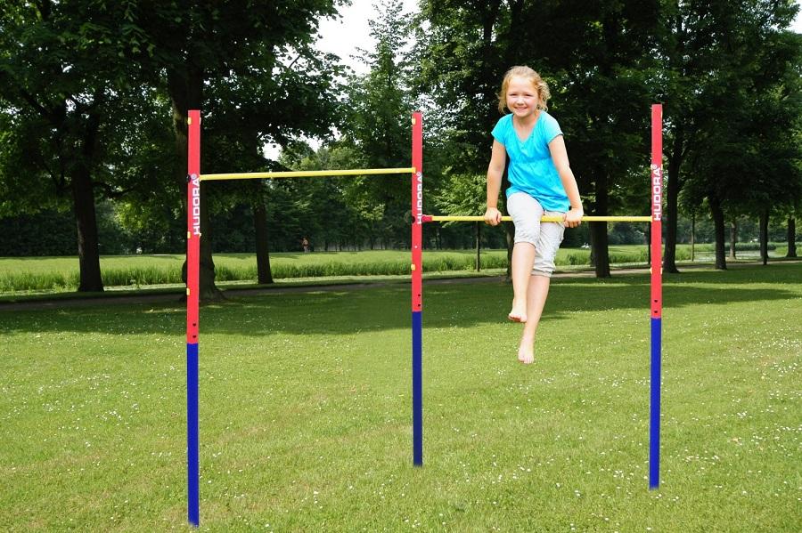 Hudora portique barre de gymnastique double jardin for Exterieur gym