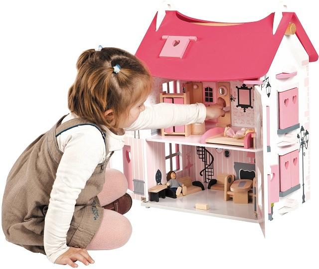 maison de poupes en bois rose achat maison de poupe meuble maison mademoiselle 15 accessoires. Black Bedroom Furniture Sets. Home Design Ideas