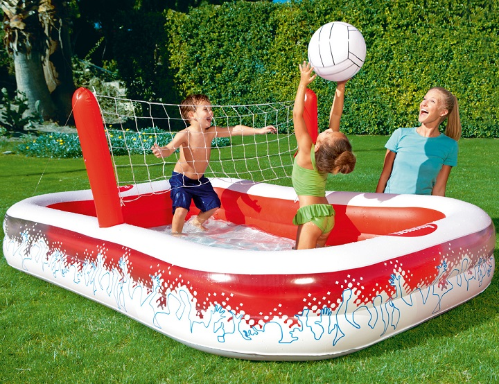 Piscine gonflable et jeu de volley ball 2 en 1 bestway for Piscine a balle gonflable