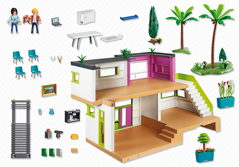 Maison moderne playmobil 5574 villa de luxe moins ch re for Salle a manger playmobil city life