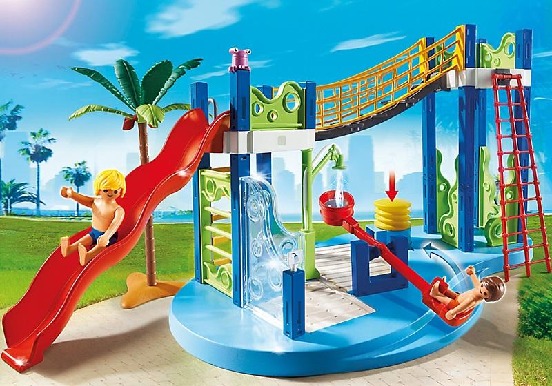 Jouet playmobil summer fun aire de jeux aquatique 6670 for Piscine play mobile