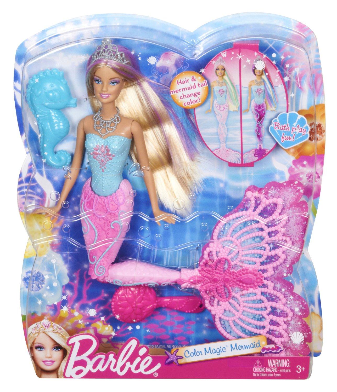 Mattel x9178 barbie sir ne couleur magique avec un hippocampe - Barbie sirene magique ...