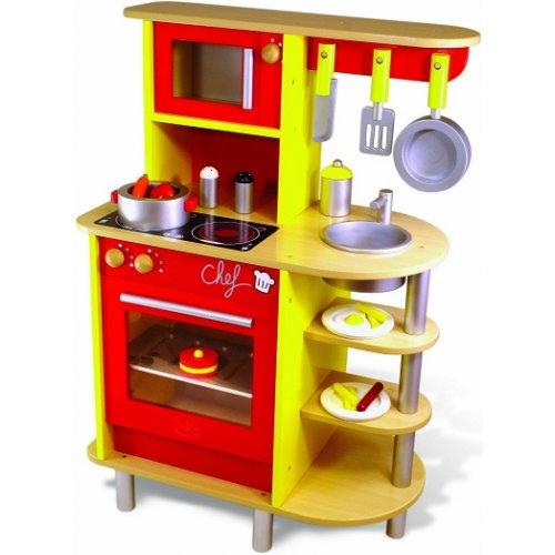 Grande cuisine en bois vilac, Jouet cuisine du chef, Cuisine enfant + 20 acce