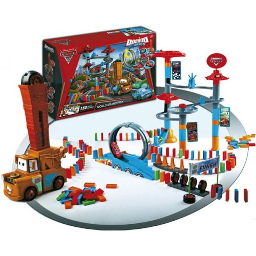 jeu de domino express cars 2 disney grand prix mondial 150 dominos cascade. Black Bedroom Furniture Sets. Home Design Ideas