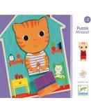 5 PUZZLES EN BOIS MIXACAT - 3 PIECES - DJECO - PUZZLE A ENCASTRER - DJ01554