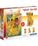 COFFRET 2 PUZZLES ROI LION : 104 PIECES + 3D - CLEMENTONI - 20158