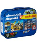 COFFRET DE 4 PUZZLES PLAYMOBIL 2 X 60 PIECES ET 2 X 100 PIECES - SCHMIDT - 55599