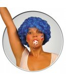 PERRUQUE POP AFRO BLEUE COURTE BOUCLEE ADULTE - SOIREE DISCO, CARNAVAL