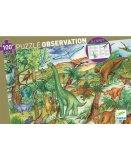 PUZZLE D'OBSERVATION LE MONDE DES DINOSAURES 100 PIECES - LIVRET ET POSTER - DJECO - DJ07424