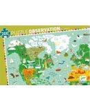 PUZZLE D'OBSERVATION TOUR DU MONDE AVEC LIVRET 200 PIECES - DJECO - DJ07412