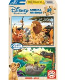 PUZZLE EN BOIS ANIMAL FRIENDS - ROI LION - LIVRE DE LA JUNGLE 2 X 50 PIECES - EDUCA - 13144