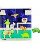 PUZZLE EN BOIS HAPPY ANIMO 6 PIECES - JANOD - PUZZLE A ENCASTRER AVEC BOUTONS - J07007