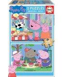 PUZZLE EN BOIS PEPPA LE COCHON AU MARCHE / PEPPA PIG ET REPAS EN FAMILLE 2 X 25 PIECES - EDUCA - 18078