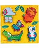 PUZZLE EN FEUTRINE ET BOIS HAPPY JUNGLE - 5 PIECES - DJECO - DJ01041