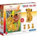 COFFRET 2 PUZZLES ROI LION : 104 PIECES + 3D - CLEMENTONI - 20158
