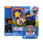 PAT PATROUILLE CHASE AVEC SAC A DOS ET BADGE - FIGURINE CHIEN - PAW PATROL - SPIN MASTER - 20068609