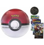 POKEBALL TIN ROUGE ET BLANCHE + 3 BOOSTERS ET UNE PIECE POKEMON - CARTE A COLLECTIONNER