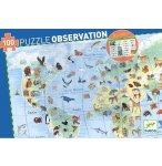 PUZZLE D'OBSERVATION LES ANIMAUX DU MONDE AVEC LIVRET 100 PIECES - DJECO - DJ07420