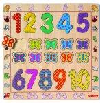 PUZZLE EN BOIS APPRENDRE  A COMPTER 1-10 - 20 PIECES - DJECO - PUZZLE A ENCASTRER - DJ01801