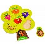 PUZZLE EN BOIS ARBRE GOURMAND 6 PIECES - JANOD - PUZZLE A ENCASTRER - PUZZLE AVEC BOUTONS