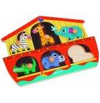 PUZZLE EN BOIS ARCHE DE NOE 6 PIECES - JANOD - PUZZLE A ENCASTRER - PUZZLE AVEC BOUTONS