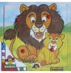 PUZZLE EN BOIS LION ET SON PETIT 4 PIECES - BEEBOO - PUZZLE A ENCASTRER AVEC BOUTONS - 0000002A