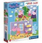PUZZLE PEPPA PIG : PEPPA LE COCHON PIQUE-NIQUE / JOUE AU PETIT TRAIN 2 X 20 PIECES - CLEMENTONI - 24778