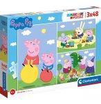 PUZZLE PEPPA PIG PIQUE-NIQUE EN FAMILLE - JOUE AU PARC 3 X 48 PIECES - CLEMENTONI PEPPA LE COCHON - 25263