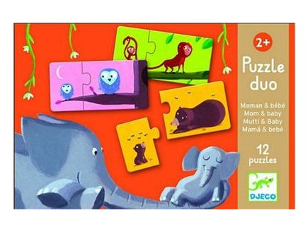 12 PUZZLES DUO MAMAN ET SES BEBES - 24 PIECES - DJECO - DJ08157