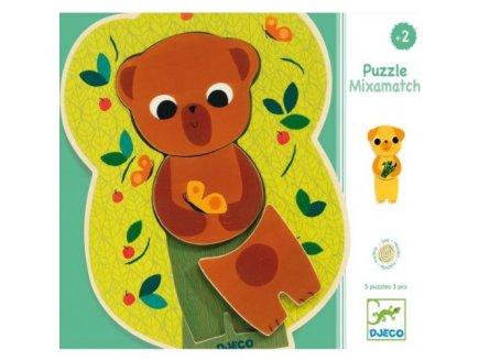 5 PUZZLES EN BOIS MIXAMATCH - 3 PIECES - DJECO - PUZZLE A ENCASTRER - DJ01553