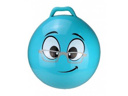 BALLON SAUTEUR SMILEY INTELLO 55 CM BLEU - SKIPPY BALL - JEU POUR REBONDIR ENFANT