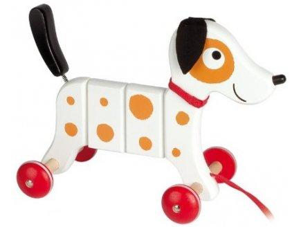 chien promener en bois jouet tra ner pas cher chien articul crazy rocky. Black Bedroom Furniture Sets. Home Design Ideas