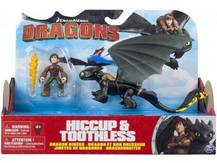 DRAGONS HICCUP & TOOTHLESS - DRAGON NOIR ET JAUNE AVEC SON DRESSEUR - DRAGONS DREAM WORKS - SPIN MASTER - 20086699