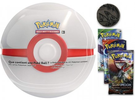 HONOR BALL TIN BLANCHE ET ROUGE + 3 BOOSTERS ET UNE PIECE POKEMON - POKEBALL - CARTE A COLLECTIONNER