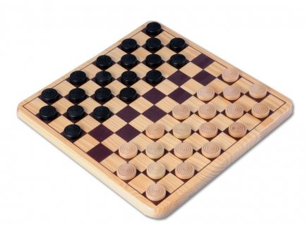 JEU DE DAMES EN BOIS 29 x 29 CM - LONGFIELD GAMES - JEU DE STRATEGIE