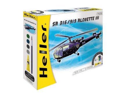 MAQUETTE HELICOPTERE SA 316/919 ALOUETTE III - ECHELLE 1/72 - HELLER - 50225
