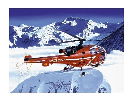 MAQUETTE HELICOPTERE SA 316B ALOUETTE III SECURITE CIVILE - ECHELLE 1/72 - HELLER - 80289