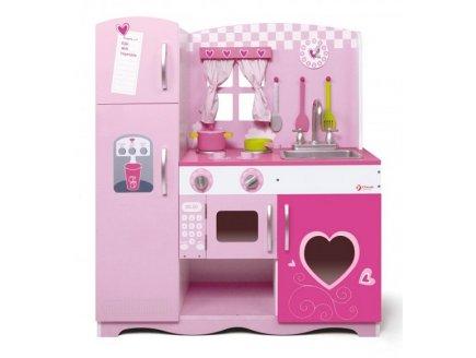 Maxi cuisine rose en bois et accessoires jeu dimitation for Accessoire cuisine rose