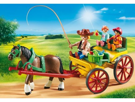 PLAYMOBIL COUNTRY 6932 CALECHE AVEC ATTELAGE