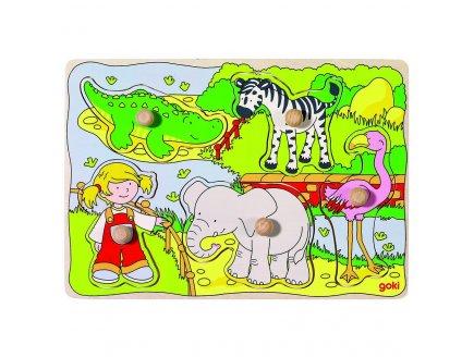 PUZZLE EN BOIS ANIMAUX DU ZOO 5 PIECES - GOKI - PUZZLE A ENCASTRER AVEC BOUTONS - 57590