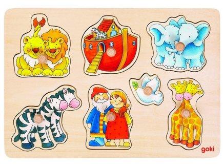 PUZZLE EN BOIS ARCHE DE NOE 7 PIECES - GOKI - PUZZLE A ENCASTRER AVEC BOUTONS - 57533