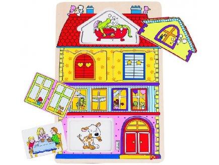 PUZZLE EN BOIS AVEC IMAGES CACHEES LA MAISON 6 PIECES - GOKI - PUZZLE A ENCASTRER - 57602