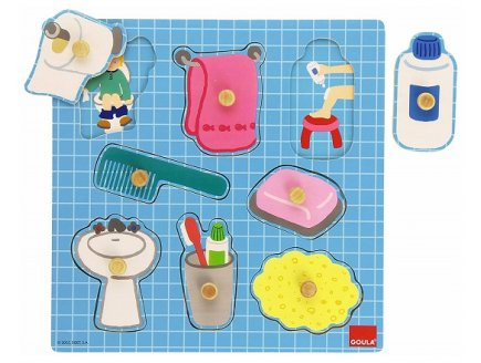 PUZZLE EN BOIS ENCASTREMENT SALLE DE BAIN 8 PIECES - GOULA - 53032