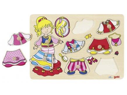PUZZLE EN BOIS LA PRINCESSE A HABILLER 8 PIECES - GOKI - PUZZLE A ENCASTRER AVEC BOUTONS - 57814