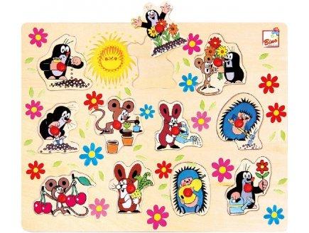 PUZZLE EN BOIS LES ANIMAUX DU JARDIN 11 PIECES - BINO - PUZZLE A ENCASTRER AVEC BOUTONS - 13725