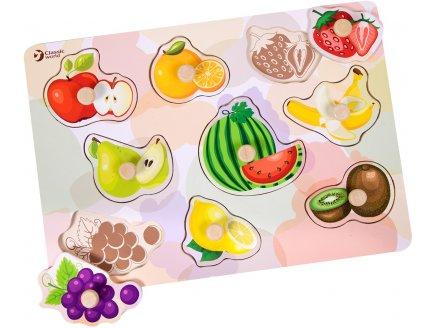 PUZZLE EN BOIS LES FRUITS 9 PIECES - PUZZLE A ENCASTRER AVEC BOUTONS ILLUSTRES SOUS LES PIECES