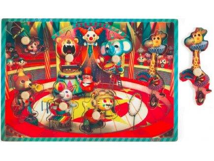 PUZZLE EN BOIS MUSICAL LE CIRQUE ZAPATTA 7 PIECES - JANOD - PUZZLE A ENCASTRER AVEC BOUTONS - J07075